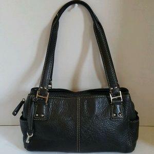 Fossil Women's Black Leather Shoulder Tote Bag